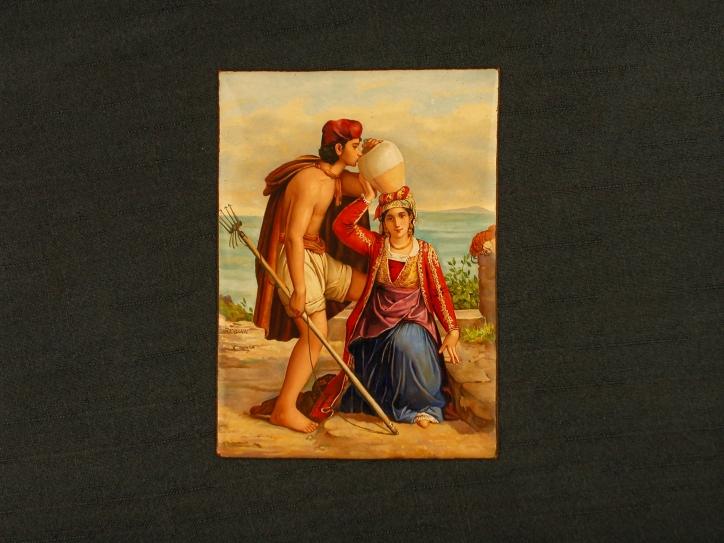Jeune fille de Procida donnant à boire à un pêcheur d'après Léopold Robert